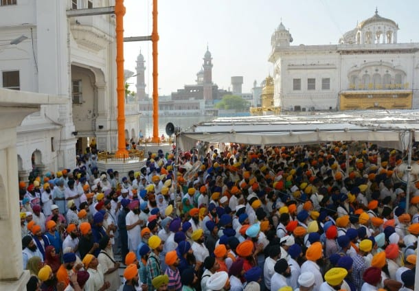 Activists of radical Sikh organisations offer prayers on the occasion of 'Ghallughara Diwas', the 30th Anniversary of Operation Bluestar at Sri Akal Takht Sahib in Golden Temple Complex of Amritsar on June 6, 2014. (Photo: IANS)