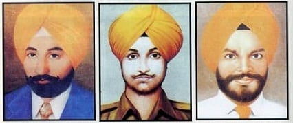 Shaheed Beant Singh (Left), Shaheed Satwant Singh (Center) and Shaheed Kehar Singh (Right)