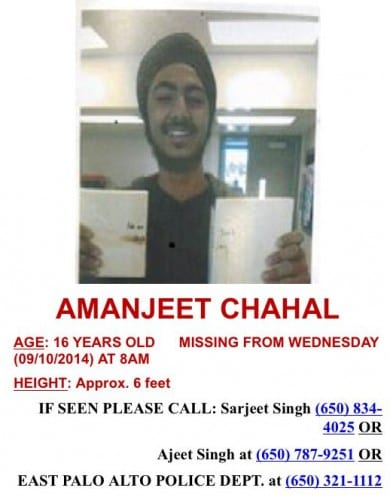 Missing Sikh Teenager from East Palo Alto, California