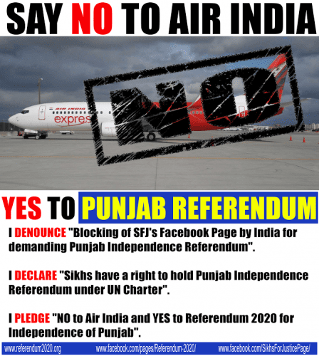"""Sikhs For Justice"" Calls For Boycott of Air India"
