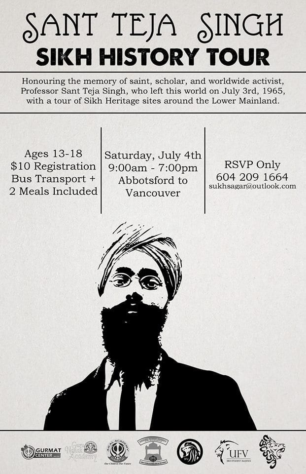 Sant Teja Singh Sikh History Tour Planned in Vancouver BC