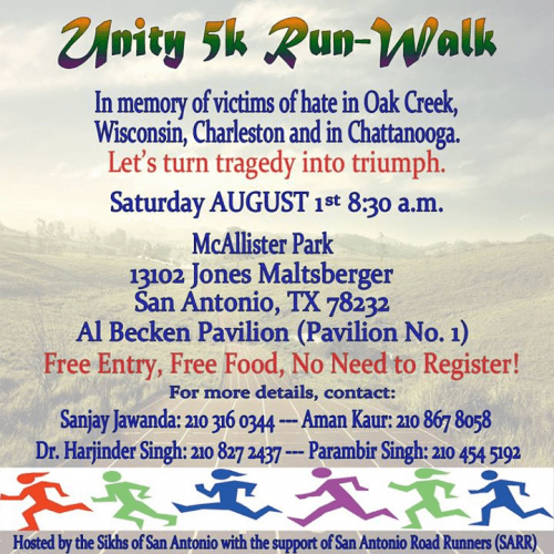 San Antonio Sikhs To Hold 5K Run in Memory of Oak Creek, Charleston and Chattanooga Hate Victims