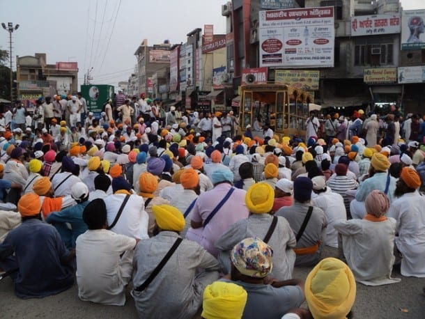 File Photo: Sikh activists before they were attacked by the police