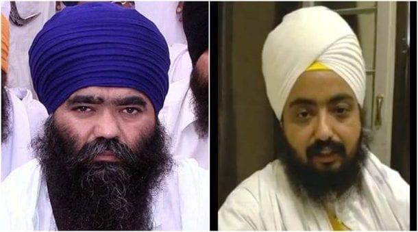 Baba Harnaam Singh Dhumma on left and Bhai Ranjit Singh Dhadrianwale on right