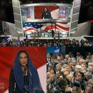 lawyer Harmeet Dhillon give prayers at convention