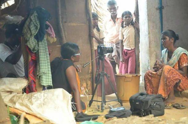 "Divya Bharathi at work filming her documentary, ""Kakkoos"""