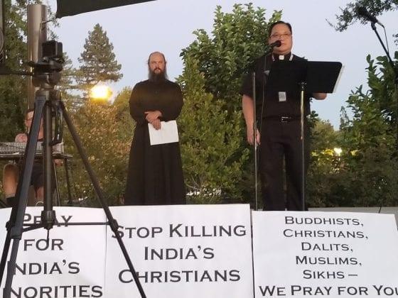 Fr. George Snyder and Fr. Joshua Lickter at Candlelight Vigil
