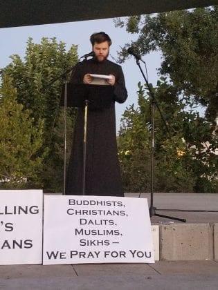 Catechist Brandon LaTourneau at Candlelight Vigil