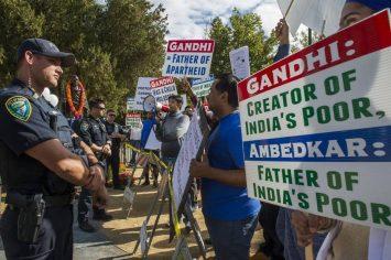 Demonstrators protest installation of Davis, CA Gandhi statue