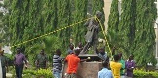 ghana gandhi statue pulled down