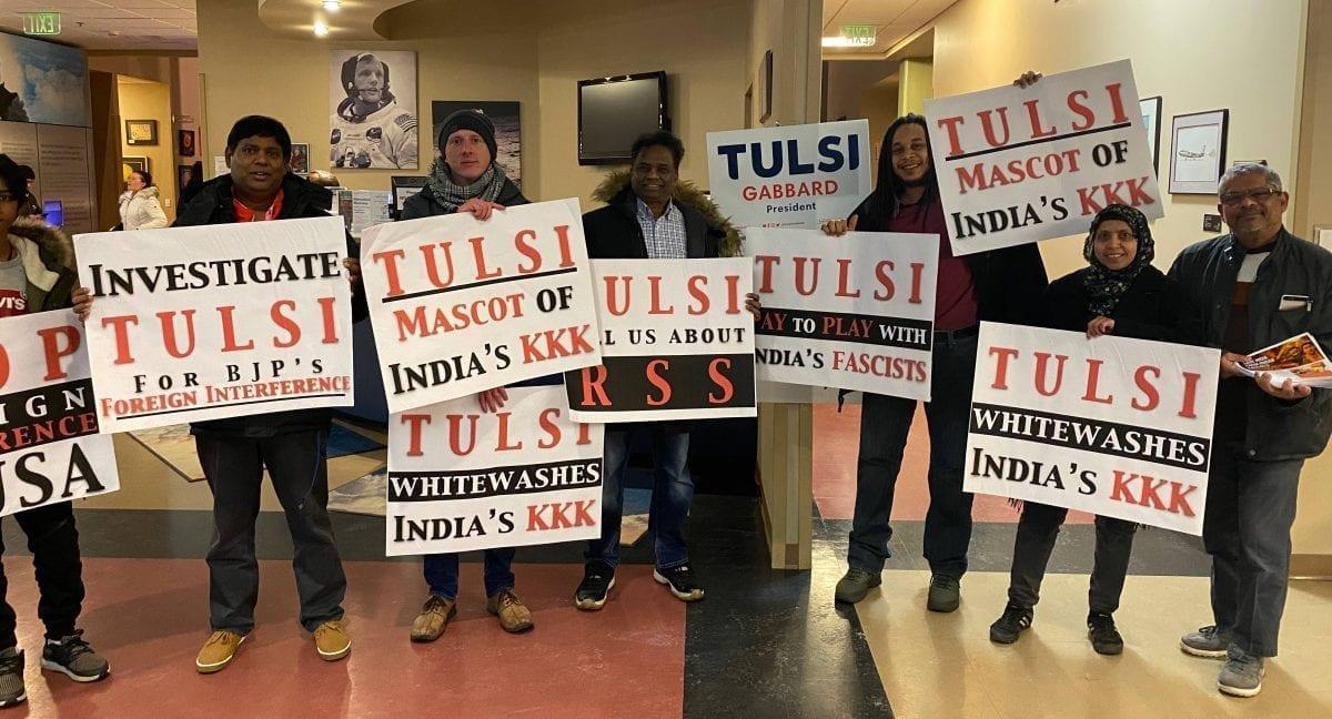 tulsi gabbard - concord - new hampshire - rss protest - bjp protest