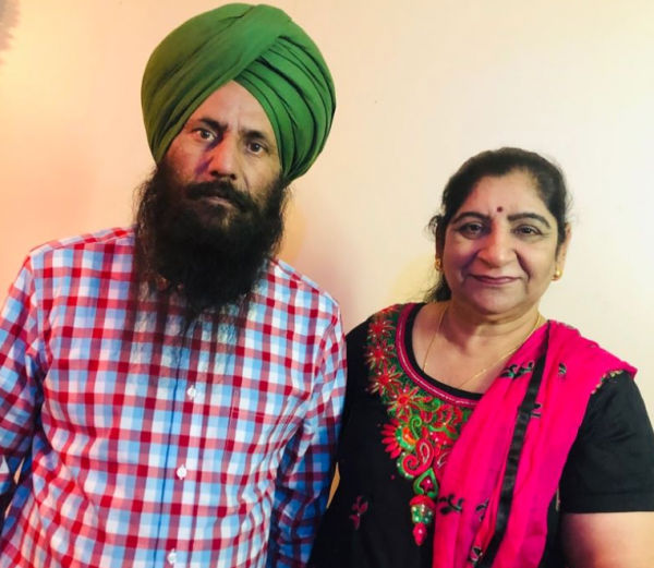 Surjit Singh with his wife