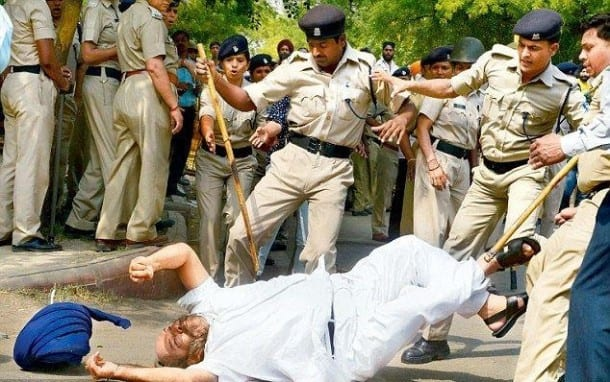 A photo of recent police brutalities against Sikhs