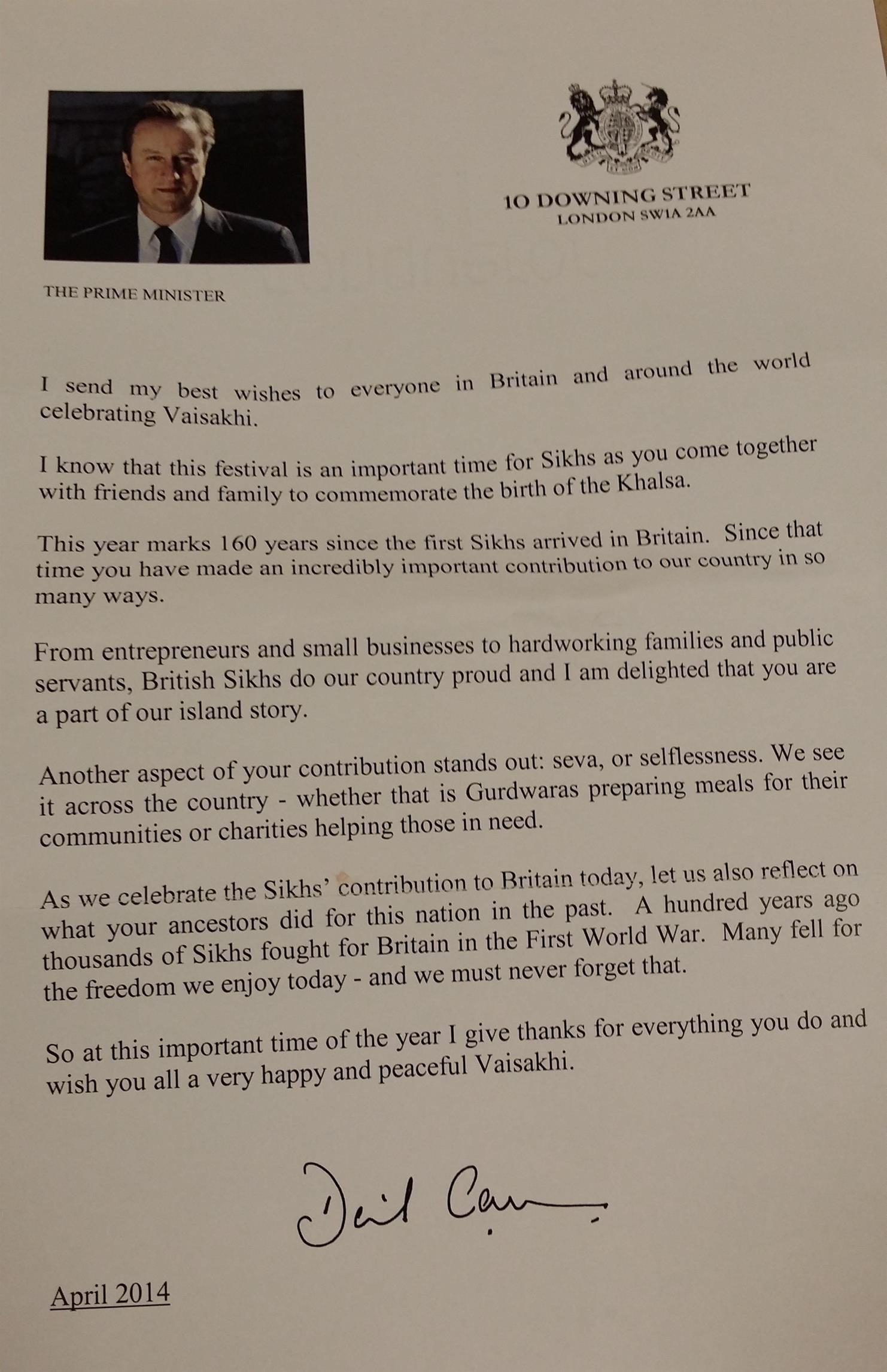 LONDON UKu2014UK Prime Minister David Cameron sends