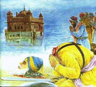 Shaheed Baba Deep Singh jee laying rest at Harimandir Sahib