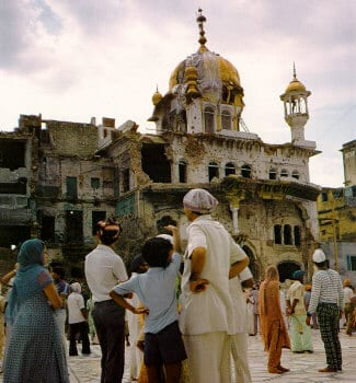 The Akal Takhat after Operation Blue Star.