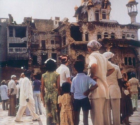 The destroyed Akaal Takhat after Operation Blue Star in 1984